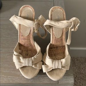 Nude Charlotte Russe sandal wedges size 8